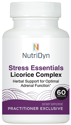 A photo of a purchaseable supplement called Stress Essentials Licorice Complex.