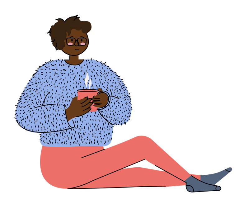 tired woman sitting on floor with cup of coffee